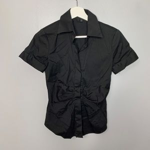 Theory Black Gathered Front Blouse